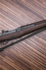 Preview iPhone wallpaper Rifle, weapons, wood background