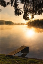 Preview iPhone wallpaper River, trees, morning, sunrise