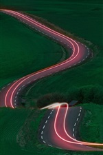 Preview iPhone wallpaper Road, light lines, fields, trees, green, night