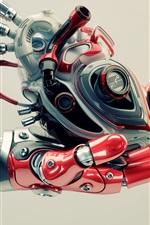 Preview iPhone wallpaper Robotics, hand, heart, high tech