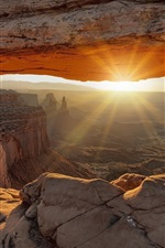 Preview iPhone wallpaper Rocks, canyon, cave, sun rays