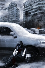Preview iPhone wallpaper Romantically Apocalyptic, ruins, city, snow, gas mask, cars, smoke, fire