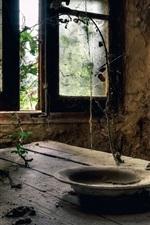 Ruins, room, wood table, window, plates, dust