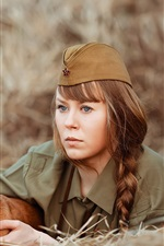 Preview iPhone wallpaper Russian soldier, girl, dog