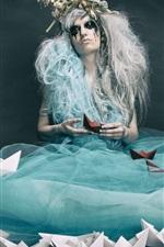 Sadness girl, blue skirt, paper boats