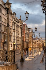 Preview iPhone wallpaper Saint Petersburg, street, buildings, lamps
