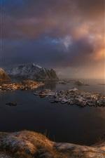 Scandinavia, Norwegian sea, Norway, city, clouds, island