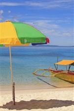 Preview iPhone wallpaper Sea, beach, tropical, boat, umbrella