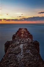 Sea, sunset, skyline, pier