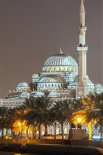Preview iPhone wallpaper Sharjah, UAE, Al Noor Mosque, palace, night, lights