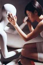 Preview iPhone wallpaper Short hair Asian girl and model, mood