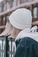 Preview iPhone wallpaper Short hair girl back view, hat, coat, city