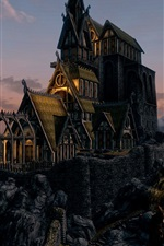 Preview iPhone wallpaper Skyrim, mountain, house, castle, clouds, art picture