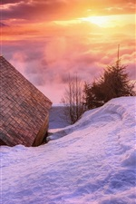 Preview iPhone wallpaper Snow, house, clouds, sunset, winter