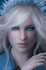 Preview iPhone wallpaper Snow queen, girl, blue eyes, ice knife