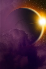 Preview iPhone wallpaper Solar eclipse, planet, light, space