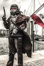 Soldado, máscara de gás, bandeira, cidade