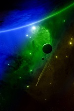 Preview iPhone wallpaper Space, planets, green and blue colors