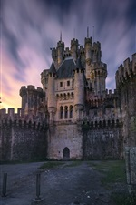 Preview iPhone wallpaper Spain, Biscay, castle, trees, dusk, sky, stars