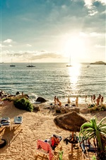 Preview iPhone wallpaper Spain, beach, Ibiza island, sea, sunshine, people