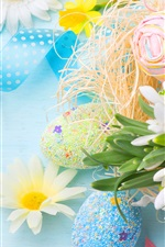 Preview iPhone wallpaper Spring, Easter, colorful eggs, flowers