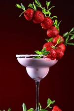 Preview iPhone wallpaper Strawberry, cocktail, glass cup