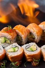 Preview iPhone wallpaper Sushi, rolls, caviar, fire, Japanese food