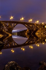 Preview iPhone wallpaper Sweden, river, bridge, water reflection, night, lights