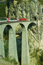 Preview iPhone wallpaper Switzerland, train, overpass, tunnel, mountains