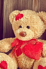 Teddy bear, red roses, love heart