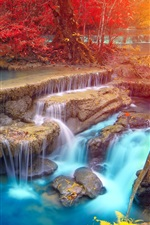 Preview iPhone wallpaper Thailand, waterfall, trees, rocks, autumn