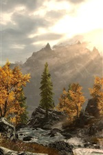 Preview iPhone wallpaper Trees, mountains, stones, sun rays, autumn