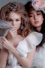 Preview iPhone wallpaper Two beautiful girls, white skirt, bride