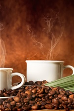 Two cups of coffee, green leaves