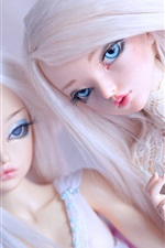 Preview iPhone wallpaper Two doll girls, toys, white hair