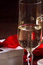 Preview iPhone wallpaper Two glass cups of champagne, gift, romance