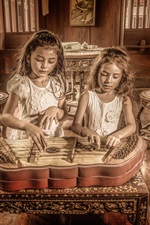 Preview iPhone wallpaper Two little girls play music