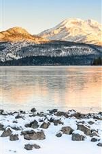 EUA, montanhas, lago, neve, árvores, inverno