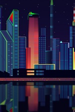 Preview iPhone wallpaper Vector design, city, skyscrapers, night