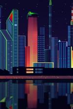 iPhone обои Векторный дизайн, город, небоскребы, ночь