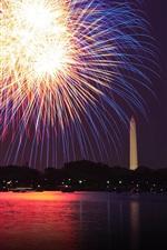 Preview iPhone wallpaper Washington, Potomac, fireworks, river, night, USA