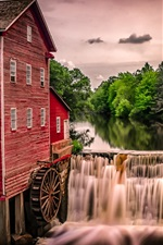 Preview iPhone wallpaper Water mill, waterfall, trees, house, Wisconsin, USA