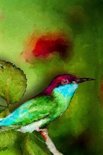 Preview iPhone wallpaper Watercolor painting, bird, green leaves