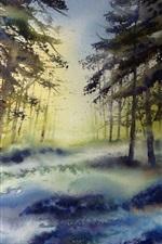 Vorschau des iPhone Hintergrundbilder Aquarell, Wald, Bäume