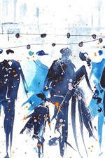 Watercolor painting, people, street, abstract