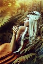White long hair girl, leaves, bushes