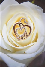 Preview iPhone wallpaper White rose, love heart pendant, decoration