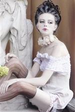 White skirt girl, pose, window