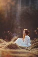 Preview iPhone wallpaper White skirt girl sit on grass, forest