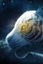 Preview iPhone wallpaper White tiger, snow, smoke, art picture